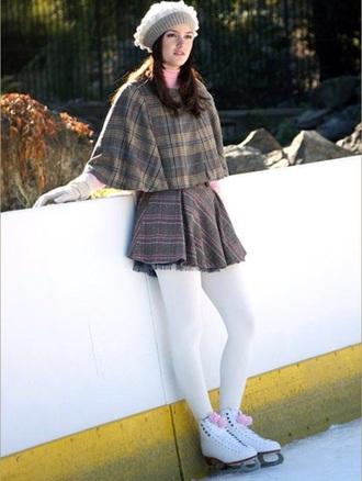 top poncho blair waldorf leighton meester gossip girl skater skirt grey tartan plaid skirt beret winter outfits winter sports dress