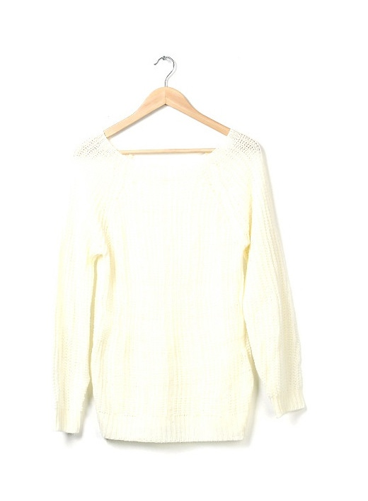 Casual style scoop neck solid color openwork long sleeve knit sweater for women (apricot,one size) china wholesale