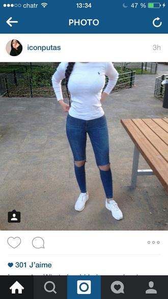 shirt white ralph lauren femme jeans