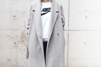 wool blend grey trench coat tweed jacket jacket winter coat fall coat wool nike boyfriend coat coat white sweater jumper minimalist streetwear sweater pockets