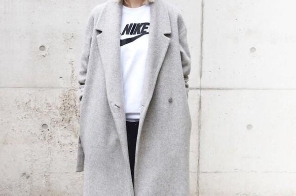 wool blend grey trench coat tweed jacket jacket winter coat fall coat wool nike boyfriend coat coat white sweater jumper minimalist streetwear sweater pockets boyfriend jacket trench coat