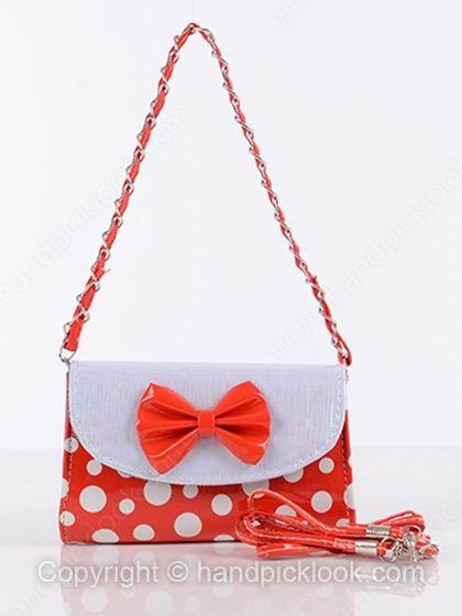 Orange Bow Embellished PU Leather Shoulder Bag - HandpickLook.com
