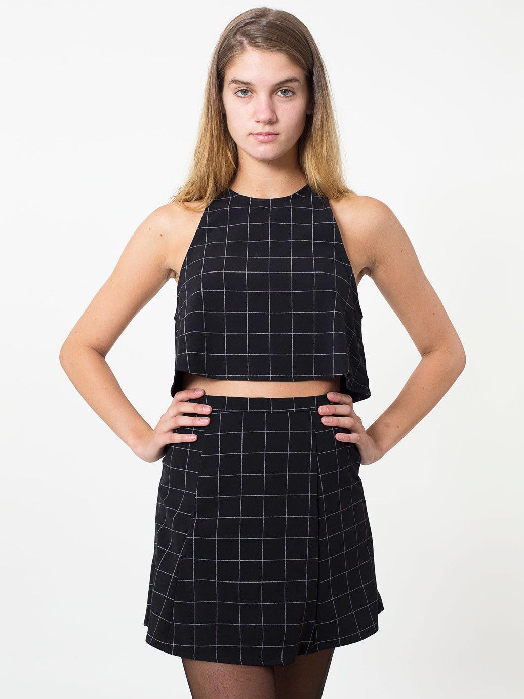 The Grid Print Lulu Mini Skirt | American Apparel