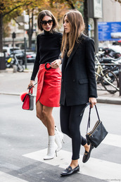 skirt,tumblr,girl squad,mini skirt,red skirt,wrap skirt,top,black turtleneck top,black top,turtleneck,black blazer,blazer,leggings,black leggings,loafers,gucci,gucci shoes,gucci princetown,streetstyle,boots,high heels boots,white boots,ankle boots,bag,handbag,sunglasses,black bag