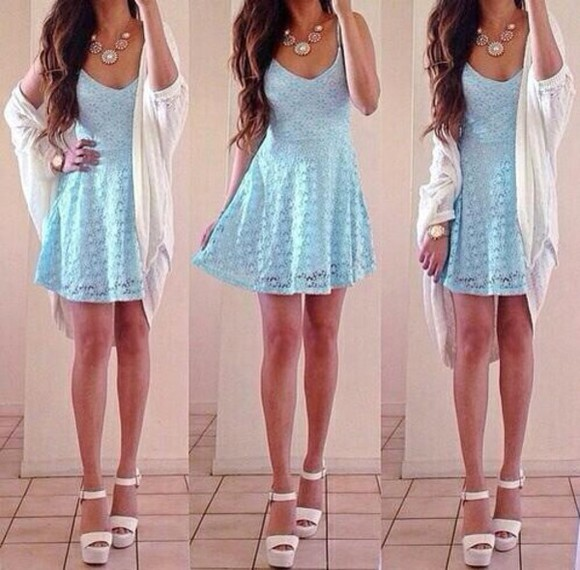 lace dress cute dress light blue straps