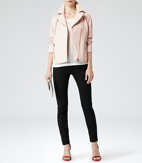 Fray Soft Pink Leather Biker Jacket - REISS