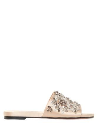 embellished sandals satin nude shoes