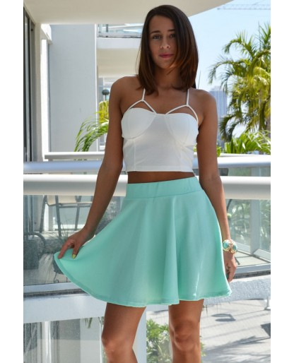 Trendy Clothing, Fashion Shoes, Women Accessories | Leslie Mint Skater Skirt  | LoveShoppingMiami.com