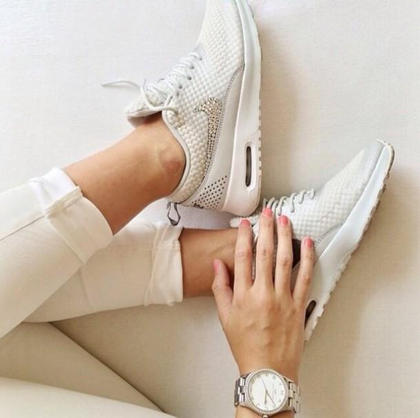 shoes white glitter shoes nike running shoes nice elegant diamonds nike