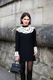dress,black and white dress,collared dress,short hair,hairstyles,long sleeve dress