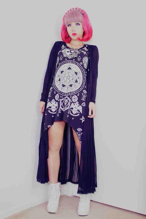 dress kawaii grunge pastel goth goth hipster cute cardigan