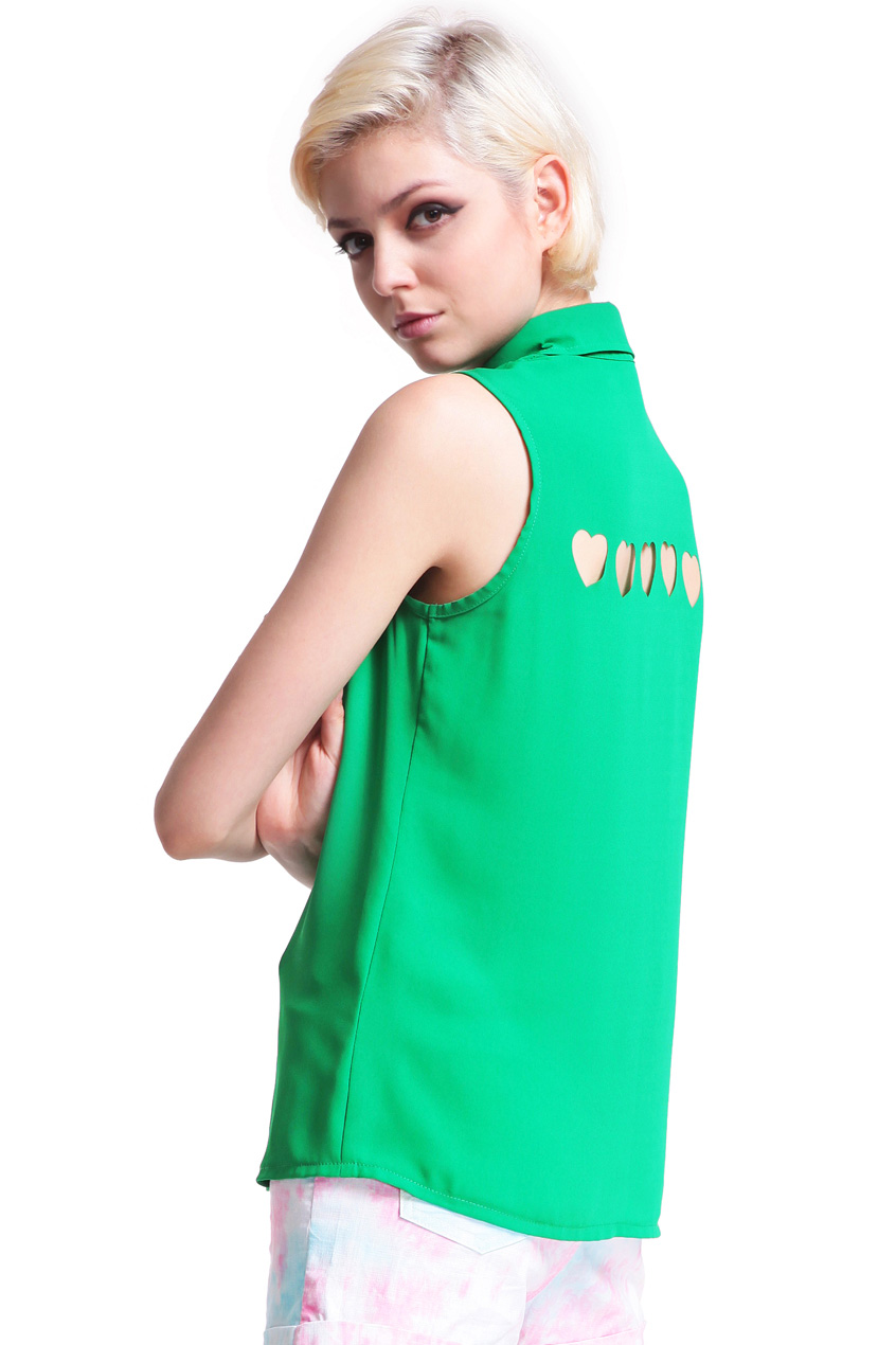 ROMWE | Green Heart Cut-out Shirt, The Latest Street Fashion
