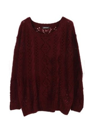Amazon.com: Sheinside Women Red Long Sleeve Hollow Diaper Loose Sweater (Free Size, Red): Clothing