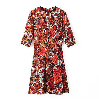 dress printed pattern vintage mini pleated beaded bright colorful blossom floral mini dress day wear summer outfits half sleeve dress cute