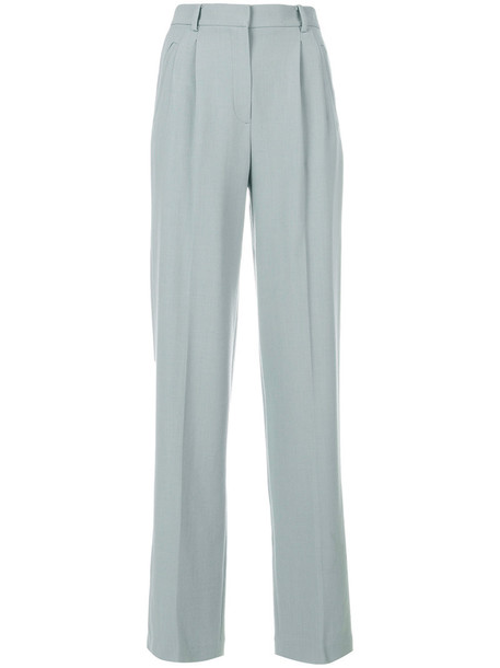 theory pleated high women spandex wool grey pants