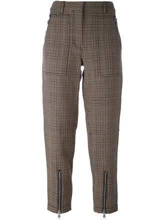 cropped houndstooth brown pants