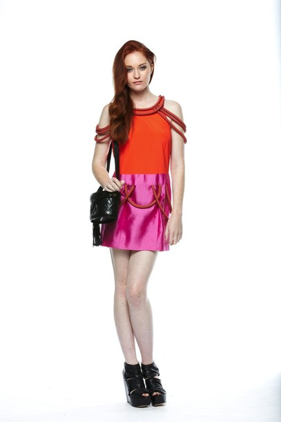 dress colour block tropical designer
