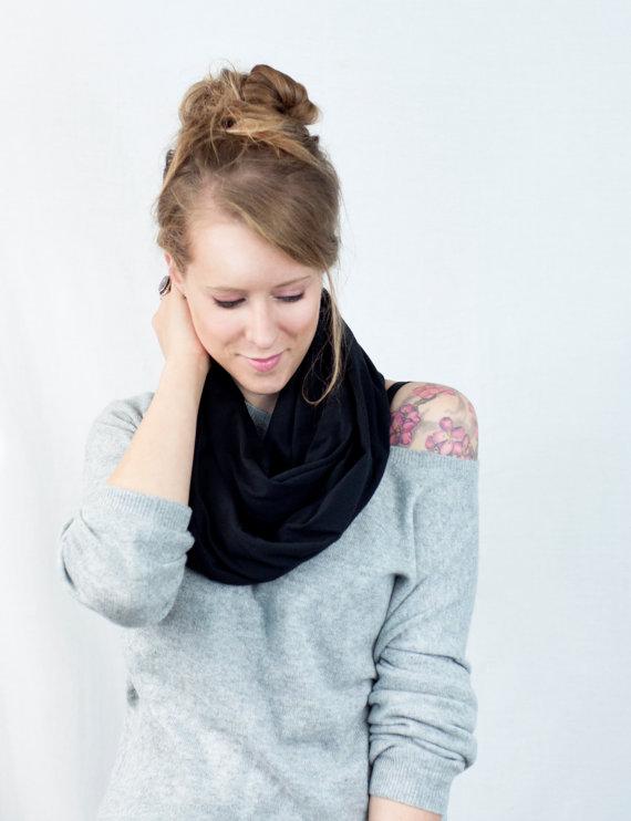 Black infinity scarf, jersey scarf, black circle scarf, cotton scarf, womens scarf accessory wide women circular scarf
