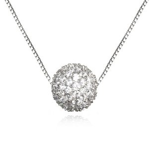 Amazon.com: White CZ Pave Ball Necklace-18