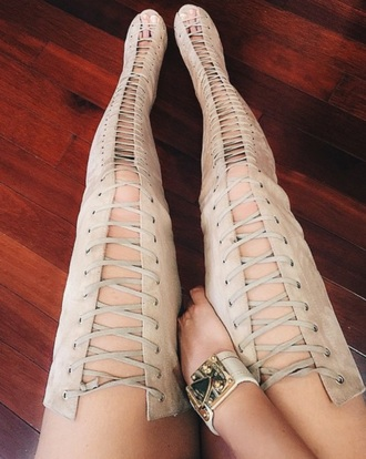 shoes mischievous socialite thigh highs thigh high boots suede lace up suede boots tan high heels jewels jelena karleusa cream high heels