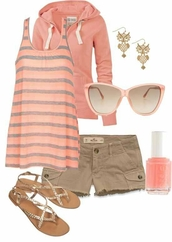 sunglasses,coral,peach,shorts,shoes,shirt,jacket,tank top,salmon,stripes,sandals,hoodie,casual