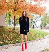 dress,mini dress,sweater dress,black sweater,knitted dress,knitwear,sock boots,red boots