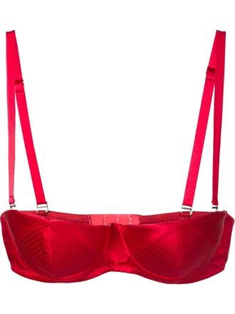 bra satin red underwear
