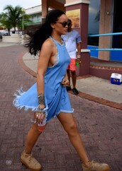dress,denim,denim dress,sneakers,rihanna,summer dress,summer outfits,shoes,??,blue,blue dress,cute dress,fashion toast,fashion vibe,fashion,fashion coolture,fashionista,style,style scrapbook,stylish,style me,celebrity style,celebrity,rihanna style