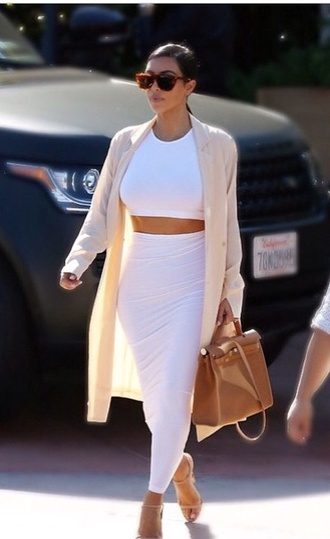 white girly cute fashion outfit blouse crop tops style white skirt kim kardashian white dress sexy kimk long dress fall outfits