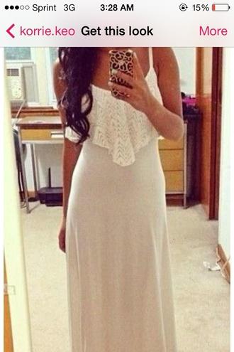 dress white dress maxi dress spaghetti strap