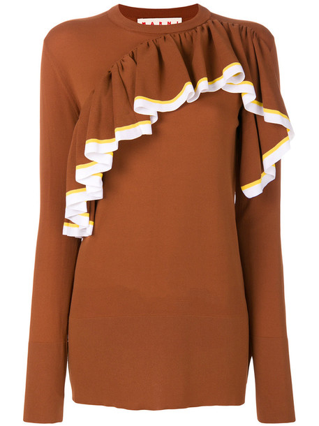 sweater ruffle women brown