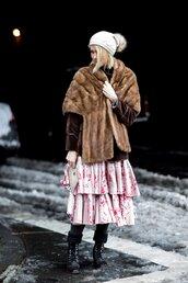 jacket,tumblr,nyfw 2017,fashion week 2017,fashion week,streetstyle,brown jacket,fur jacket,faux fur jacket,scarf,fur scarf,dress,pink dress,midi dress,ruffle,ruffle dress,boots,black boots,flat boots,winter outfits,winter boots,winter look,beanie,pom pom beanie