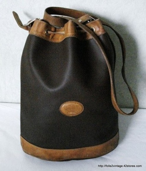 bag longchamp cuir vintage black brown