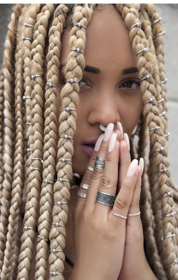 hair accessory, box braids, cuffs, silver, hairstyles ...