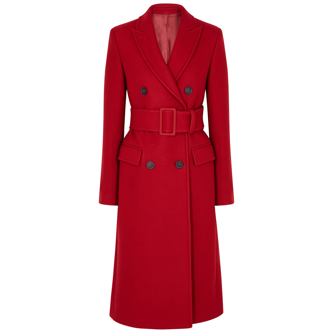 Red double-breasted wool-blend coat