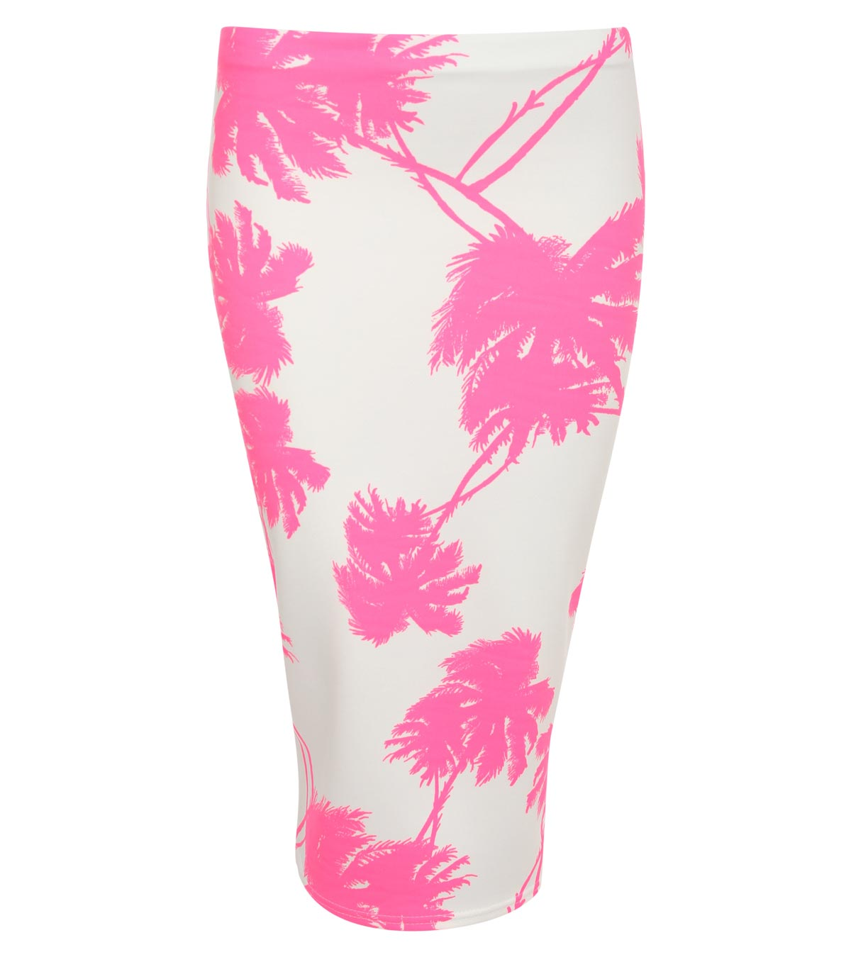 Scarlett Palm Tree Print Midi Skirt in Neon Pink