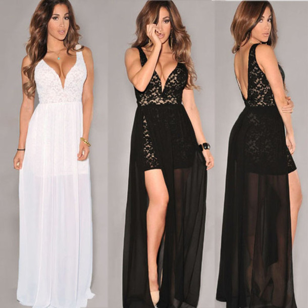 a34c4f8516e3 dress white dress black dress v neck dress high split lace white lace dress  black lace