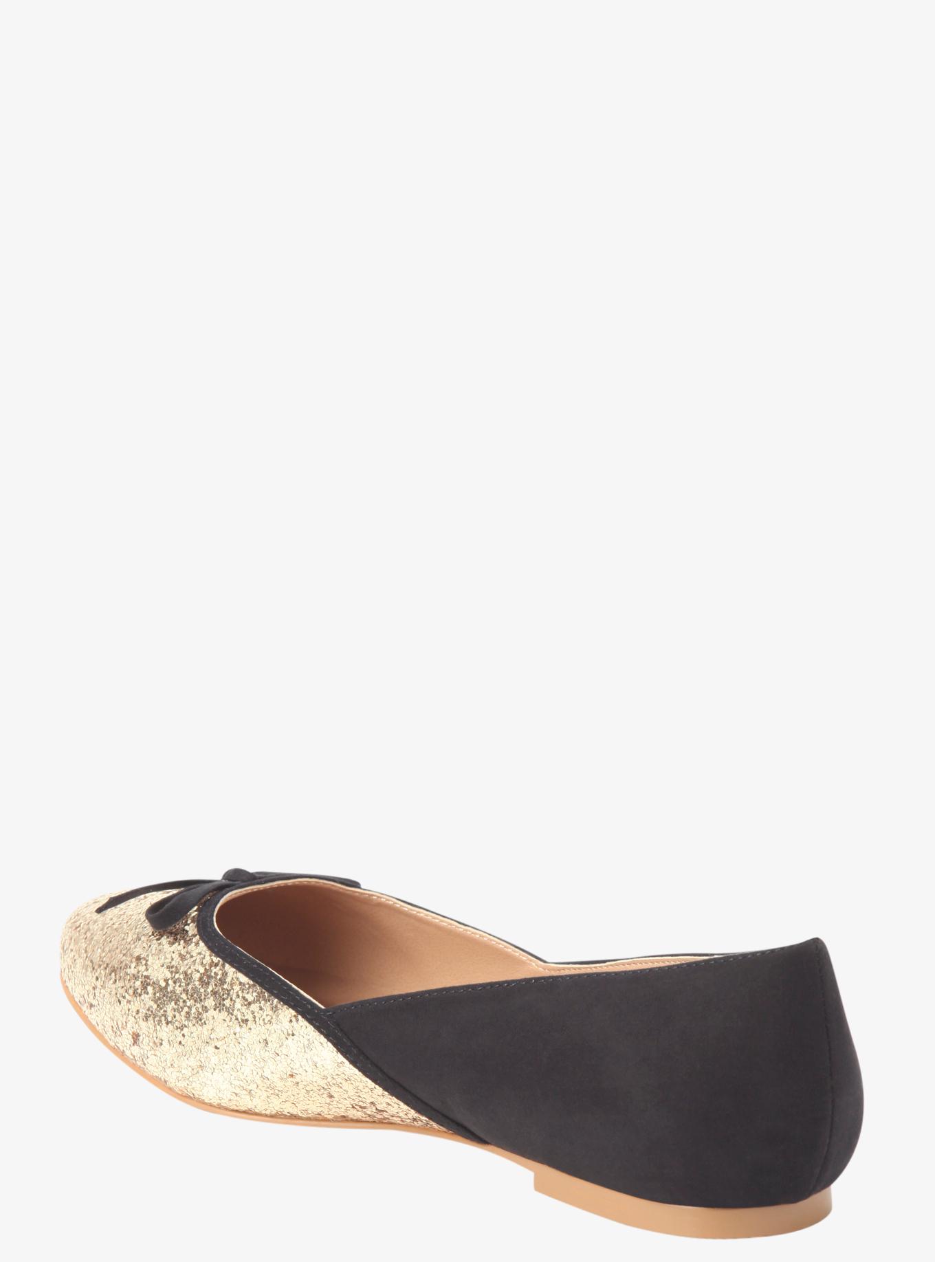 Glitter toe ballet flats (wide width)