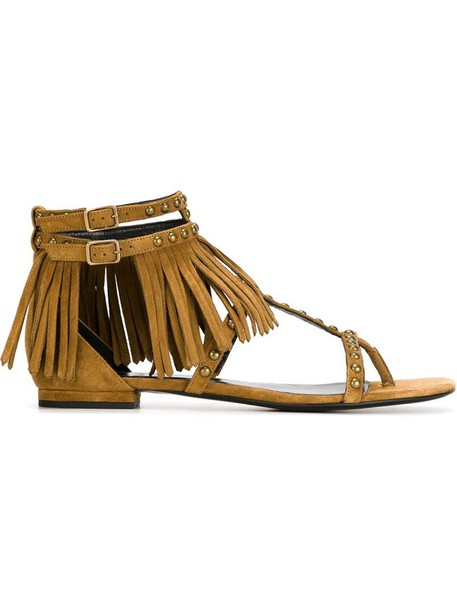 metal women sandals flat sandals leather nude suede shoes