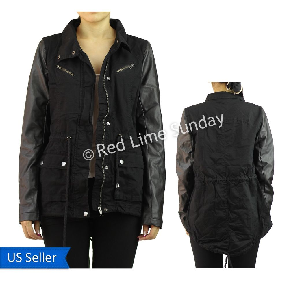 New Black Army Cotton Military Jacket Faux Leather Sleeve Coat Rider Zip Button