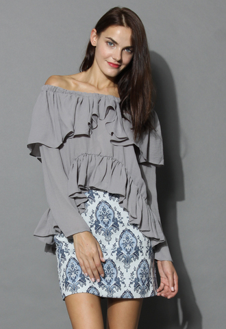 top whims and ruffles off-shoulder top in grey chicwish grey off the shoulder top ruffle