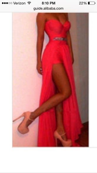 dress coral dress long prom dress slit dress sweetheart dresses