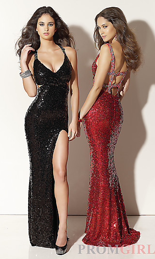 Sequin Covered Prom Dresses, Mori Lee Sexy Sequin Dress- PromGirl