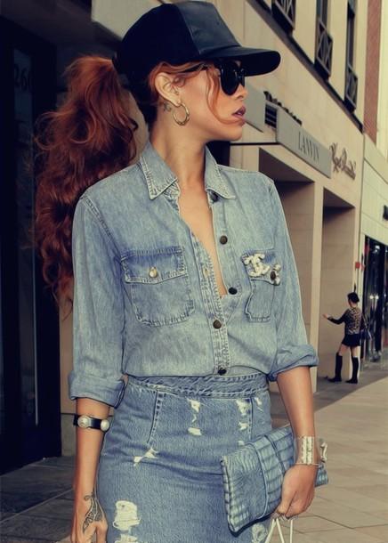 shirt denim shirt chanel rihanna blue skirt