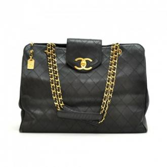 Chanel: Chanel Weekender Black Quilted Leather XL Tote Shoulder Bag Cc778 | MALLERIES