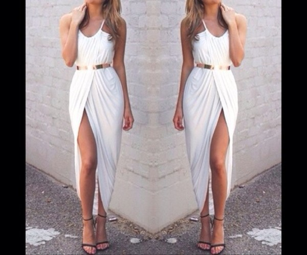 dress long dress white belt gold