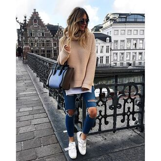 sweater tumblr turtleneck turtleneck sweater beige sweater bag blue bag blue jeans denim jeans ripped jeans sneakers valentino white sneakers sunglasses round sunglasses fall outfits