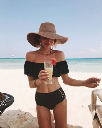 swimwear hat swimwear two piece bikini bikini top bikini bottoms off the shoulder bikini black bikini sun hat