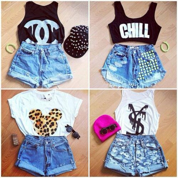 black t-shirt denim shorts crop tops white t-shirt shorts tops denim shorts hats sunglasses shirt
