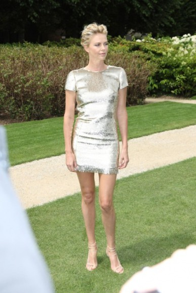 charlize theron dress gold